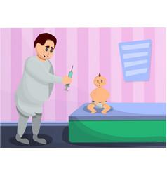 pediatrician injection concept banner cartoon vector image