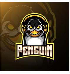 penguin mascot logo design with headphones vector image