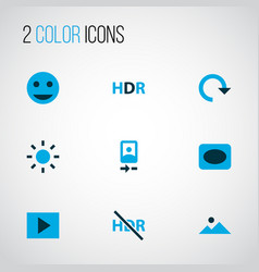 Picture icons colored set with slideshow hdr vector