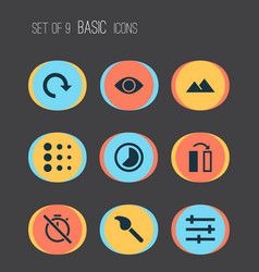 picture icons set with flip blur filter and vector image