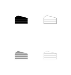 piece of cake black and grey set icon vector image