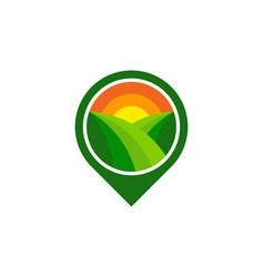 Pin farm logo icon design vector