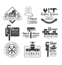 Plumbing and repairing service black and white vector