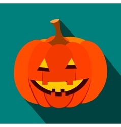 Pumpkin with a smile flat icon vector
