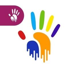 Rainbow hand print vector