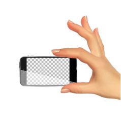 Realistic 3d silhouette of hand with mobile phone vector