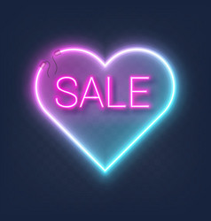 Realistic glowing shape neon heart frame with sale vector