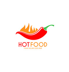 Red chili pepper with fire logo vector