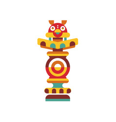 Religious totem pole traditional native cultural vector