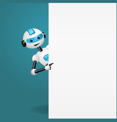 Robot behind an empty white board pointing vector