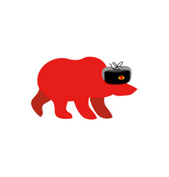 russian red bear in fur hat communist red symbol vector image