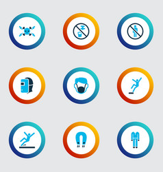 safety icons colored set with dust mask slippery vector image
