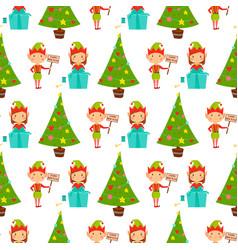 santa claus kids cartoon elf helpers vector image