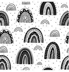 Scandinavian rainbows seamless pattern vector