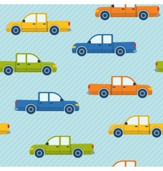 Seamless pattern with pickup cars vector image