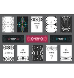 set geometric flyers hipster background vector image