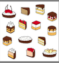 set of cake stickers hand drawn vector image