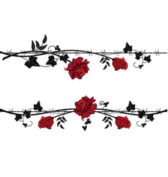 set of dividers with rose with barbed wire vector image