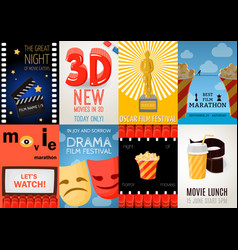 set of eight cinema posters vector image