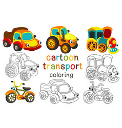 Set of isolated cartoon transport with eyes part 2 vector