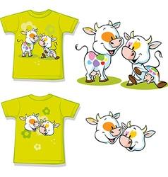 Shirt with cute cow cartoon vector