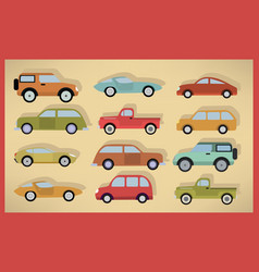 simple cars collection vector image