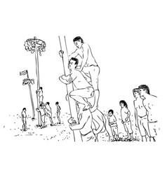 Simple manual hand draw sketch pinang tree climb vector