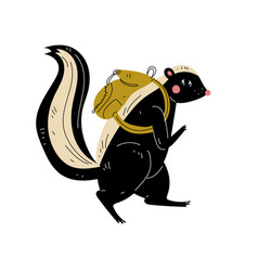 Skunk walking with backpack animal character vector