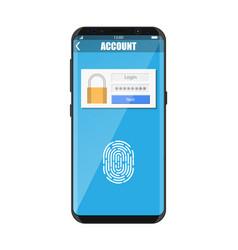 smartphone unlocked fingerprint vector image