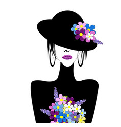 Stylized woman with hat and flowers vector
