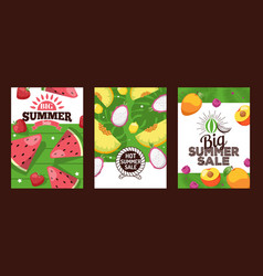 summer sale banners exotic fruits vector image