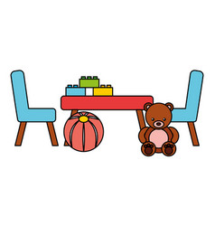 table bear chairs ball kid toys vector image