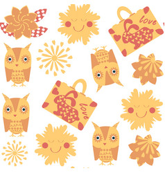 travel owl seamless pattern it is located in vector image