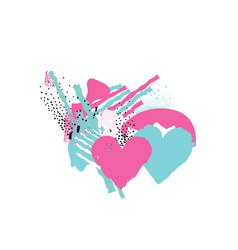 two hearts in love love sign valentines day vector image