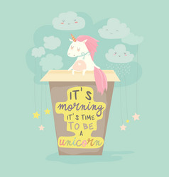 Unicorn needs a coffee good morning vector