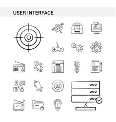 User interface hand drawn icon set style isolated vector