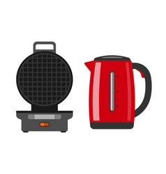 Waffle maker machine easy to do food at home vector
