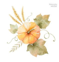 Watercolor autumn bouquet leaves vector