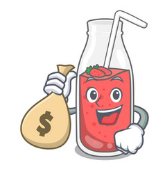 With money bag strawberry smoothie character vector