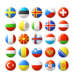 World flags round badges magnets europe vector