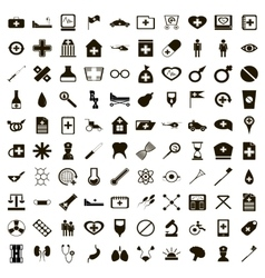 100 medicine icons set simple style vector image vector image