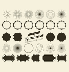 collection of hand drawn retro sunburst bursting vector image vector image