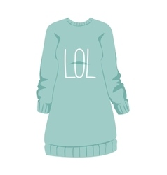 Female sweatshirt blue style hoodie and warm vector image