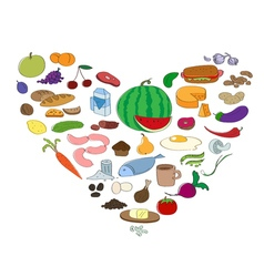 Hand drawn food collection in heart symbol Fruit vector image vector image