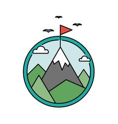 retro success circular icon with mountain and flag vector image vector image