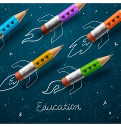Education Rocket ship launch with pencils - vector image