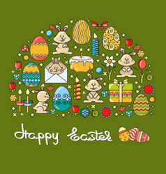 greeting card with easter icon and handwritten vector image vector image