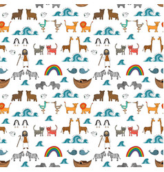 seamless pattern with noahs ark concept vector image