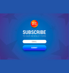 subcribe form with name and email input fields and vector image vector image