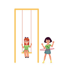 Two girls playing at playground swinging and vector